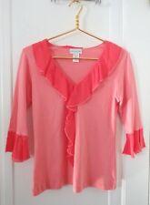 Soft Surroundings Womens Medium Shirt Coral Ruffle V Neck Top Jersey Chiffon USA