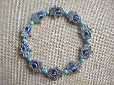 Fashion Hamsa Hand of Fatima Lucky Eye Charm & Turquoise Beads Bracelet