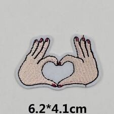 2 Hand For Heart (Iron on) Embroidery Applique Patch Sew Iron Badge