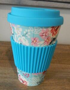 ECO TRAVEL MUG LID BLUE GRIP FLOWERS 450ML BAMBOO UK SELLER