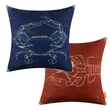 Vintage Dark Blue Crab Red Lobster Pillow Case Decorative Cushion Cover Nautical