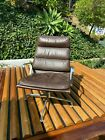 2 1970 s Herman Miller Eames Aluminum Group Soft Pad Lounge Chairs in Brown