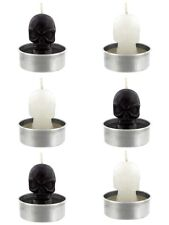 Candle Tea Light Set of 6 - Black and White Skulls