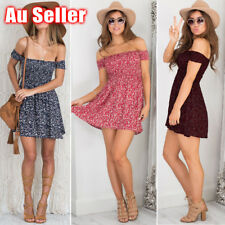 Womens Summer off shoulder Boho Dress Casual Floral Beach Short Mini Sundress