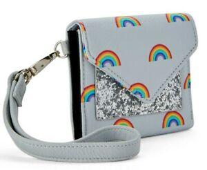 No Boundaries Ladies Envelope Wristlet Wallet Jordyn Gray Rainbows Glitter NEW