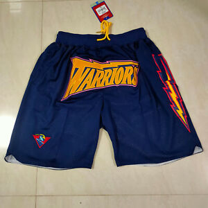 Men's Golden State Warriors Vintage Stitched Basketball Shorts Blue Size: S-XXL