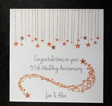 Personalised Handmade 35th Coral Wedding Anniversary Card