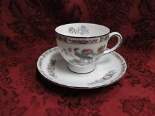 "Wedgwood Kutani Crane, Bird, Floral Band: Leigh Cup & Saucer Set (s), 2 5/8"""