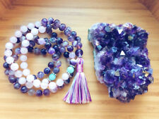 Natural amethyst mala bracelet energy yoga pendant necklace tassel fringe 8MM108