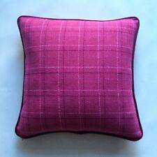PIPED CUSHION COVER IN DESIGNERS GUILD CHEVIOT WOOL IN FUCHSIA PINK RED BURGANDY