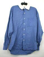 IKE Behar Men Blue White Collar Button Up Long Sleeve USA Made Dress Shirt 16/35