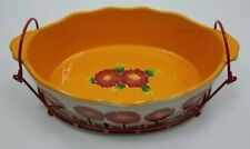 New listing Temp-tations by Tara ovenware wire stand 3qt 3D flowers painted baking dish