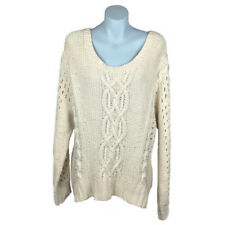 French Connection Womens Jumper Size L Cream Long Sleeve Chunky Knit