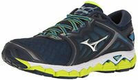 Mizuno Men's Wave Sky Running Shoes, Peacoat/Silver/Safety Yellow, Size 7.0