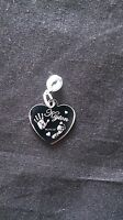 Engraved Finger /Hand/Foot Print Stainless Steel Heart Charm & Round Attachment
