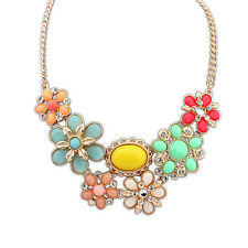 New Bright Multi-Coloured Flower & Crystal Pretty Statement Necklace N1010