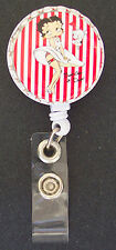 Cute BETTY BOOP Stripes Retractable Reel ID Card Badge Holder Key Chain ring