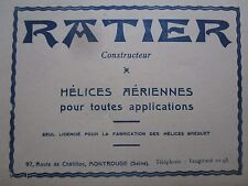 11/1926 PUB RATIER HELICES AERIENNES BREGUET USINE MONTROUGE PROPELLER FRENCH AD