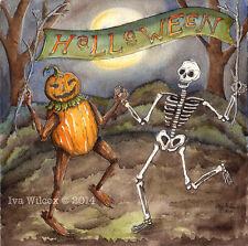 EHAG- Halloween Dance Skeleton Pumpkin Watercolor PRINT painting by Iva Wilcox