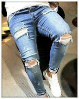 KINGZ. Designer Herren Jeans Hose Basic Denim Skinny Stretch Elasthan Blau NEU