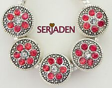 5 Red w/ Clear Center Spacer Fit European Style Jewelry 10 * 10 & 5 mm Hole R204