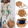 Round Women Wicker Woven Rattan Straw Bag Summer Beach Crossbody Messenger Bags