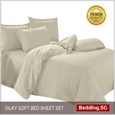 Bedsheet Set fitted Beige Colour - King size (4 piece set)