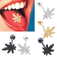 GN- Leaf Barbell Tongue Ring Stainless Steel Body Piercing Unisex Jewelry Advanc