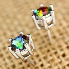 Fashion Princess Silver Jewelry Clear Round Rainbow Gemstone Ear Studs Earrings