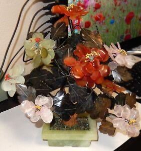 "JADE AGATE ROSE QUARTZ STONE 10""1/2 H BLOSSOM BONSAI TREE #5"