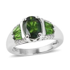 Russian Diopside, White Zircon Sterling Silver Ring (Size 8.0) 1.85 ctw