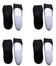 CHEX Secret Socks 4 Pairs Black Ladies 85% Cotton Blend Open Toe Footsie UK 3-6