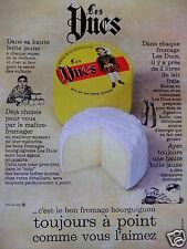 PUBLICITÉ 1968 FROMAGE LES DUCS SPÉCIALITÉS DE BOURGOGNE - ADVERTISING