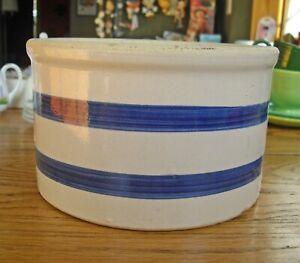 Vintage Roseville Butter Crock Beige with Blue Stripes Stoneware Bowl ~