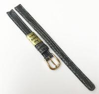Genuine Teju Lizard Dark Leather Grey Tone 8mm Gold Tone Buckle Watch Band