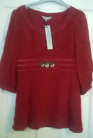 Ladies HOUSE OF FRASER DICKINS & JONES jewelled silk red long top Size 8,10