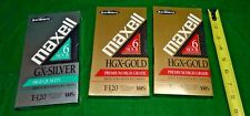 3 Sealed Maxell T-120 6 hour NEW Blank VHS Tapes 2 HGX-Gold and 1 GX-Silver F/S