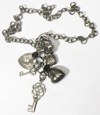 collier pendentif chaine couleur argent bijou rétro pampilles clef coeur *3733