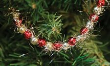 Christmas Garland Red Gold Beads with Silver Tinsel Feather Trees Wreaths Crafts