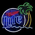"New Miller Lite Palm Tree.Neon Sign Beer Bar Pub Gift Light 17""x14"""
