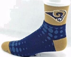 St. Louis Rams Football Navy & Gold Faded Dots Grip Bottom Quarter Socks