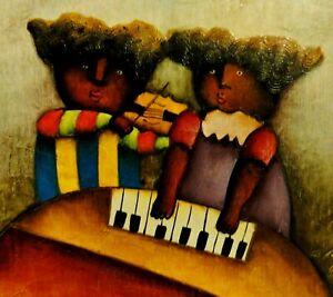 Joyce Roybal (USA, 1955.) NAIV Gemälde: 2 DUNKLE KINDER SPIELEN KLAVIER & GEIGE