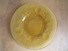 """Vintage 1930s Yellow Amber Art Deco Frosted Clear Glass 7"""" Plate Free UK Post"""