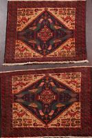 Pair of 2 Vintage Tribal Balouch Afghan Area Rug Geometric Hand-knotted Wool 2x3