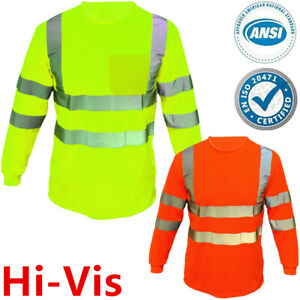 High Visibility T Shirt Hi Vis ANSI Class 3 Reflective Safety Lime Long Sleeve
