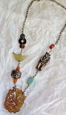 ANTIQUE VINTAGE CHINESE NECKLACE CARNELIAN JADE SILVER COIN TURQUOISE AMULET