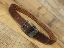 Levis Leather Belt Cut Out Strauss and Co Distressed Brown 34 Vtg