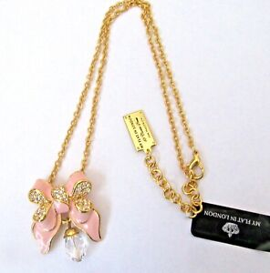 Brighton My Flat In London Miss Khloe Necklace- pink bow crystals- gold chain