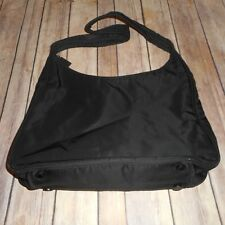 PRADA MILANO Solid Black Authentic Logos Shoulder Tote Bag Nylon Made In Italy