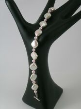 White & Pink Diamond Shaped Freshwater Cultured Pearl Bracelet
